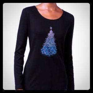 Holiday glam Christmas tree sweater